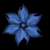 flor hojas azules